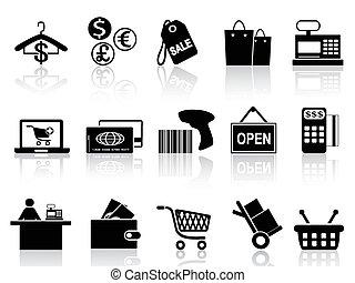 черный, розничная торговля, задавать, поход по магазинам, icons
