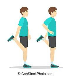 четырехглавая мышца, человек, круто, вниз, протяжение, exercise.