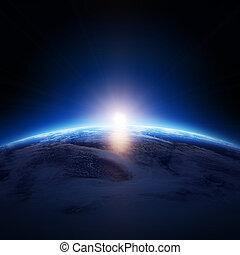 число звезд:, облачный, земля, восход, над, океан, нет