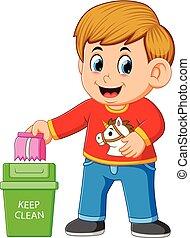 чистый, trush, окружающая среда, держать, мальчик, мусор, бункер