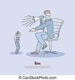 чрезмерное, наемный рабочий, использование, работник, мощность, стресс, abused, abusing, рабочее место, баннер, работодатель, verbally, менеджер