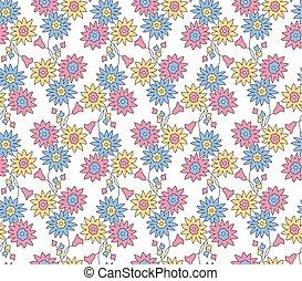шаблон, бесшовный, маленький, задний план, цветочный, белый
