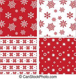 шаблон, задавать, бесшовный, красный, снежинка