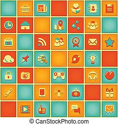 шаблон, квадрат, сетей, социальное