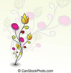 шаблон, красочный, абстрактные, цветок, весна