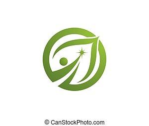 шаблон, логотип, дерево, eco, лист