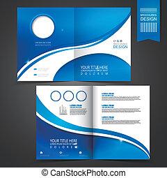 шаблон, синий, брошюра, дизайн, реклама