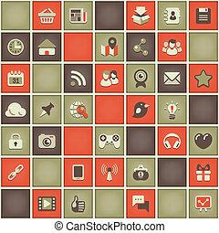 шаблон, социальное, сетей, квадрат