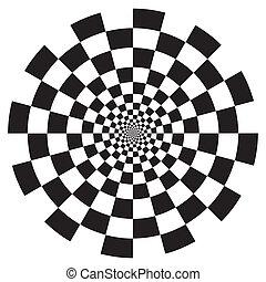 шаблон, шахматная доска, дизайн, спираль