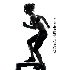 шаг, женщина, exercising, аэробика