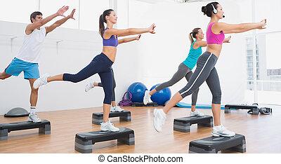шаг, упражнение, аэробика, performing, фитнес, класс