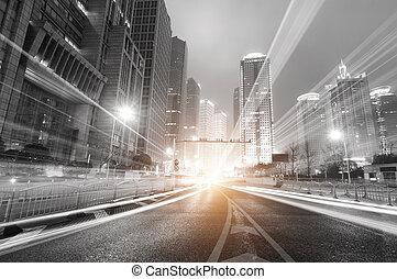 шанхай, ночь, финансы, современное, задний план, зона, город, сделка, lujiazui, &