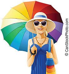 шапка, девушка, зонтик