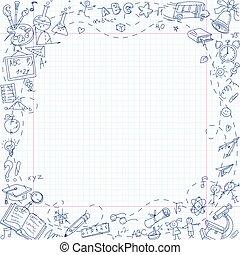 школа, лист, предметы, книга, канцелярские товары, от руки, рисование, упражнение