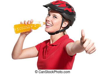 шлем, женщина, велосипед, молодой
