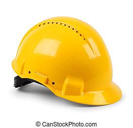 шлем, защитный, жесткий, современное, isolated, желтый, безопасность, шапка