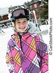 шлем, зима, курорт, девушка, лыжа, счастливый