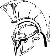 шлем, или, троянец, спартанский, греческий, иллюстрация, римский, гладиатор