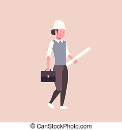 шлем, blueprints, концепция, держа, женщина, rolled, промышленность, вверх, квартира, проект, длина, полный, архитектор, женский пол, панорамирование, профессиональный, строительство, инженер, счастливый, занятие