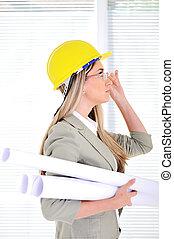 шлем, blueprints, офис, бизнес, женский пол, инженер