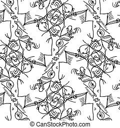 шнурок, шаблон, background., черный, цветочный, белый