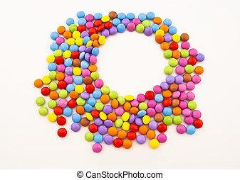шоколад, задний план, белый, надпись, конфеты, место, multi-coloured
