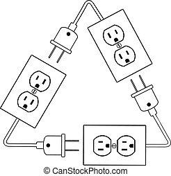 штекер, электрический, энергия, outlets, электрический, перерабатывать, renewable