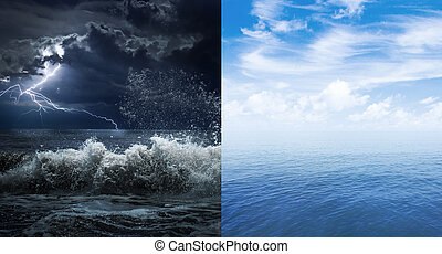 штормовой, поверхность, океан, спокойный, море, или