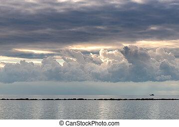 штормовой, sunset., небо, драматичный, облачный, море, выше