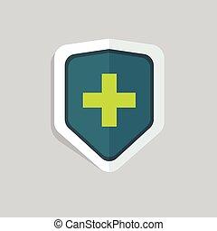 щит, медицинская, пересекать, вектор, зеленый, isolated, значок