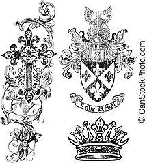 щит, роялти, корона, пересекать, элемент