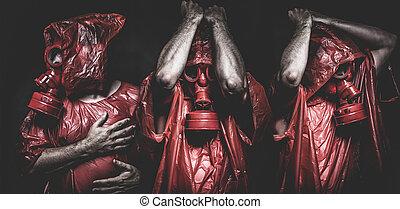 эбола, газ, концепция, человек, красный, инфекционное заболевание, маска