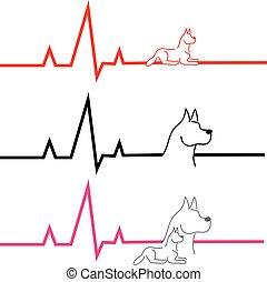 экг, белый, собака, задний план