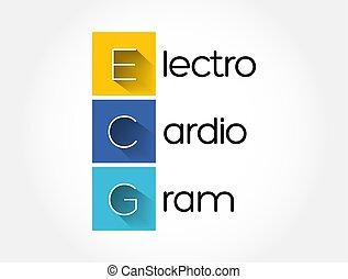 экг, медицинская, -, экг, задний план, концепция, акроним