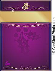 экзотический, украшенный, рождество, тег, падуб, процветать, или, карта