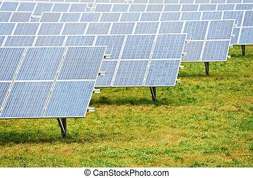 экология, ферма, энергия, поле, солнечный, аккумулятор, панель
