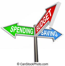 экономия, расходы, arrows, бюджет, три, знаки, дорога