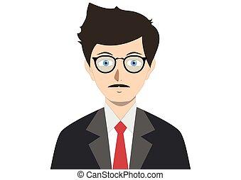 элегантный, glasses, галстук, костюм, человек