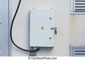 электрический, стена, серый, панель