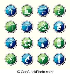 электричество, задний план, энергия, над, цветной, icons, мощность