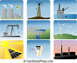 энергия, задавать, icons
