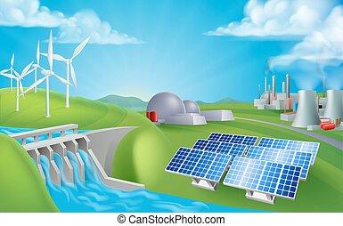 энергия, поколение, sources, мощность