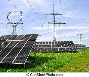 энергия, panels, солнечный