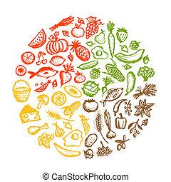 эскиз, здоровый, питание, задний план, дизайн, ваш