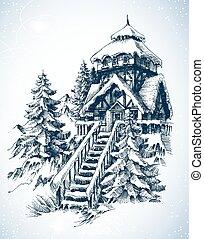 эскиз, зима, природа, дом, снег, trees, сосна