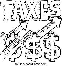 эскиз, повышение, taxes