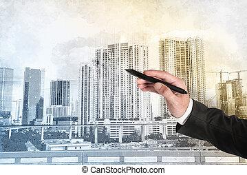 эскиз, современное, архитектор, бизнесмен, главная, рисование