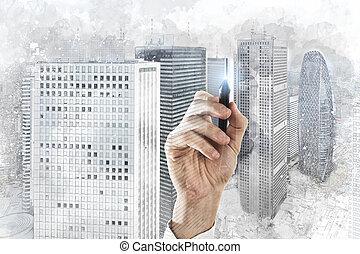 эскиз, современное, архитектор, бизнесмен, home., рисование