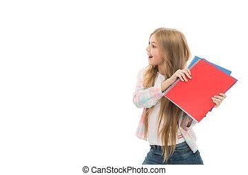 являющийся, девушка, школа, книга, заметка, маленький, это, children., играть, в течение, notebook., space., time., капризный, adorable, book., ребенок, копия, милый, немного, мой, непослушный