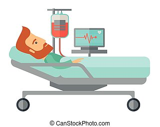 являющийся, пациент, больница, monitored, постель